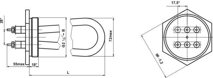 Рис.1 Схема ТЭНБ-6,0: L=370